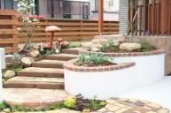 アンティークレンガ敷き 枕木段鼻階段 アプローチ・階段