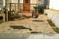 アンティークレンガ敷き 枕木ポイント アプローチ・階段