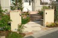 石張りカラーモルタルアプローチ アプローチ・階段