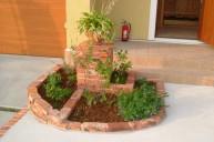 アプローチ内植栽レンガ花壇 アプローチ・階段