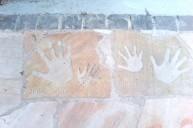 板石手形加工入り飾り アプローチ・階段