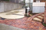 カラーモルタル枕木レンガ仕上げ駐車場 カーポート・駐車場
