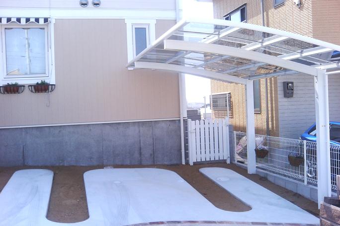 カーポート1台置き R加工コンクリート土間駐車場 カーポート・駐車場