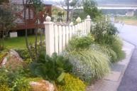 ホワイト木製フェンス フェンス