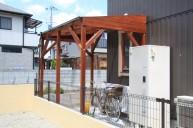 木製自転車屋根 テラス