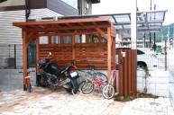 木製バイク&自転車置き場 テラス