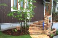 ヴィンテージレンガ門柱 階段と合わせて 門柱・門周り