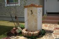 張り石レンガ立水栓 ※ビー玉施主様施工 立水栓