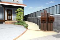 二世帯住宅用の枕木門柱 門柱・門周り