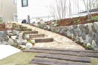 枕木とアンティークレンガ貼りの素敵な階段アプローチ アプローチ・階段